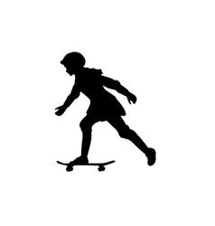 silhouette girl summer sport skateboard vector image