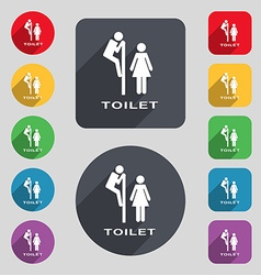 toilet icon sign A set of 12 colored buttons and a vector image