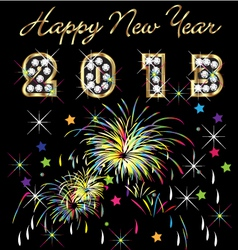 2013 with fireworks celebration vector image