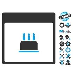 Birthday Cake Calendar Page Icon With Bonus vector image vector image