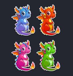 cute cartoon little dragon vector image vector image