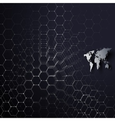 Gray world map connecting lines and dots on blue vector image vector image