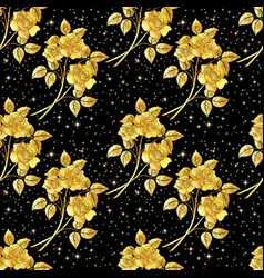 seamles background golden roses vector image