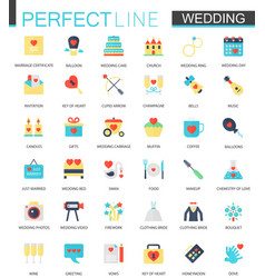 set of flat wedding icons vector image vector image