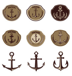 set of the emblems with anchor design elements vector image vector image