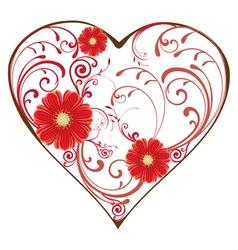 swirl heart red vector image vector image