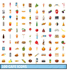 100 cafe icons set cartoon style vector