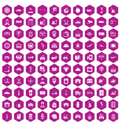 100 loader icons hexagon violet vector
