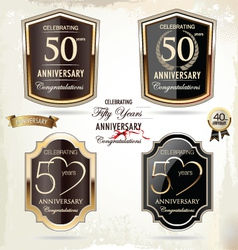 50 years Anniversary labels vector image