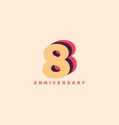 8 years anniversary template design vector