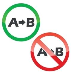 A B permission signs set vector