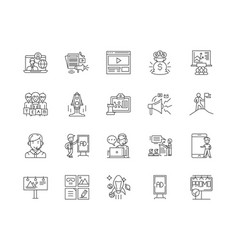 advertising business line icons signs set vector image