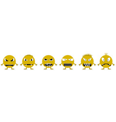 Angry smiley face icons vector