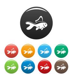 aquarium fish icons set color vector image