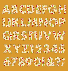 autumn thanksgiving pattern alphabet vector image