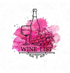 Banner hand drawn wine list vector