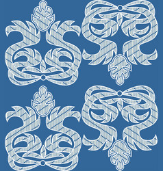 Baroque ornamental motif white embroidered lace vector