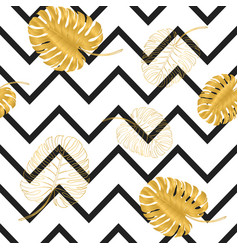 black stripes and golden textured monstera leaves vector image