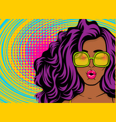 Black young swag woman pop art style vector