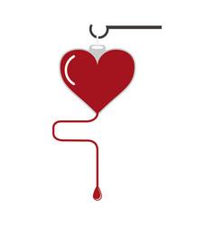 Blood bag heart shaped vector