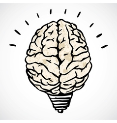 Brain and lamp concept in doodle style vector image