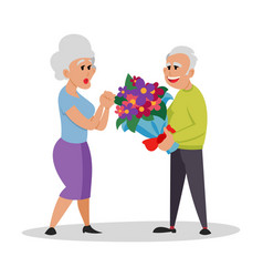 bunch flowers white nice couple old people vector image