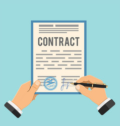 Businessman signing contract vector