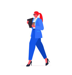 Businesswoman in formal wear holding laptop and vector