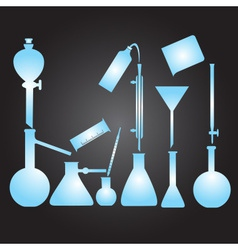chemistry laboratory glassware eps10 vector image