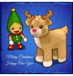 Childrens toys doll and little fawn vector