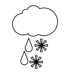 Cloud with snow and rain icon outline style vector