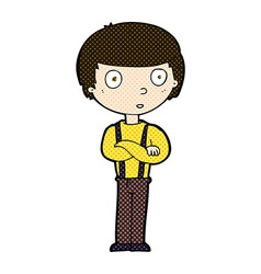 comic cartoon staring boy with folded arms vector image