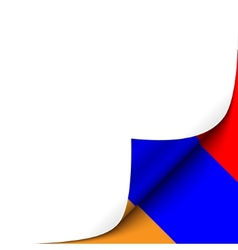 Curled up paper corner on armenian flag background vector