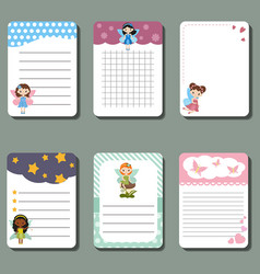 cute cards or stickers with fairy cute cards or vector image
