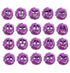 cute cartoon purple cabbage smile vector image