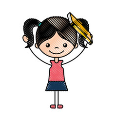 Cute girl with book character icon vector
