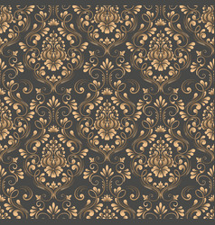 damask seamless pattern background elegant vector image