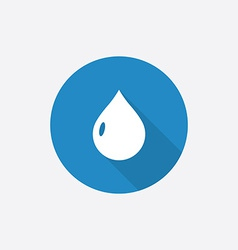 Drop Flat Blue Simple Icon with long shadow vector