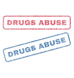 Drugs abuse textile stamps vector