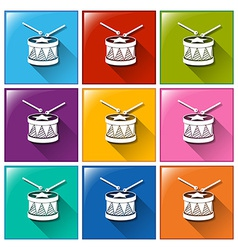 Drum icons vector image