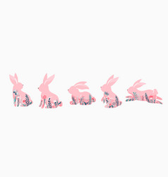 easter bunnies set pink vector image
