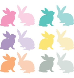 Easter bunny silhouette set vector