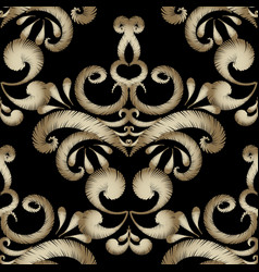 Embroidery floral gold seamless pattern damask vector