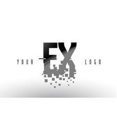 Ex e x pixel letter logo with digital shattered vector