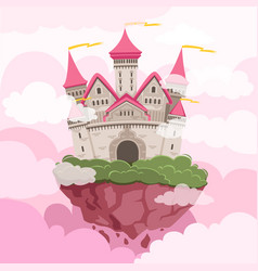 Fairytale castle with big towers in sky vector