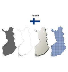 Finland outline map set vector image