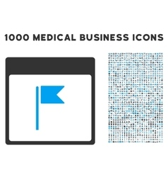 Flag Calendar Page Icon With 1000 Medical Business vector image