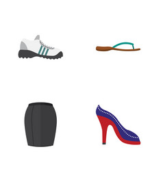 Flat garment set of stylish apparel sneakers vector