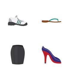 Flat garment set of stylish apparel sneakers vector