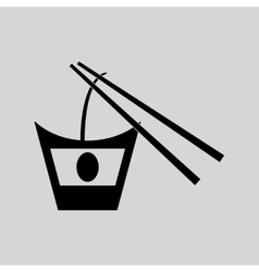 Flat in black and white Chinese noodles vector